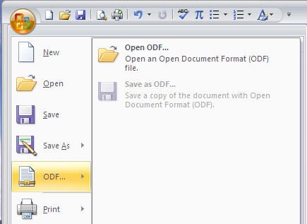 MS Office 2007 ODF support